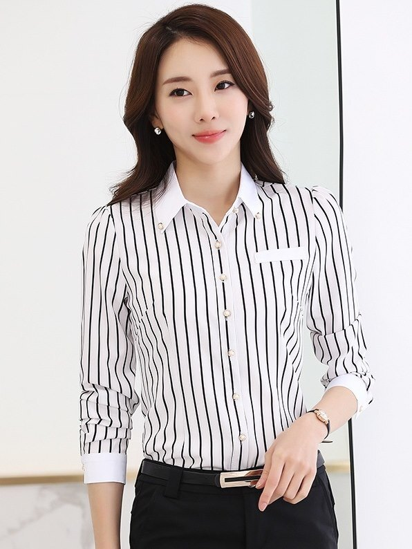11月新款:上班族女裝直條紋黑白OL免燙襯衫(長袖 白底黑條)wcps31