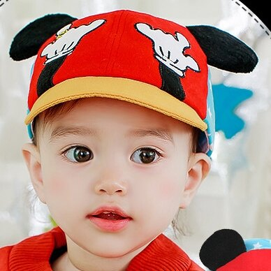 Lemonkid◆愛耍酷鑽戒手指熊立體動物耳朵造型帽子兒童帽鴨舌帽-紅色