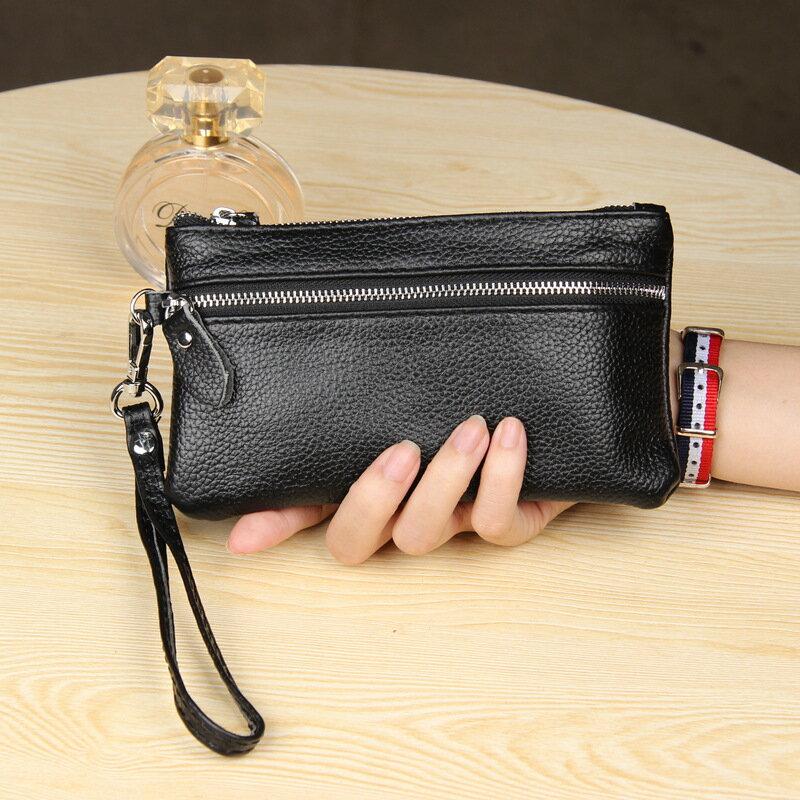 手拿包真皮錢包-純色荔枝紋牛皮雙拉鍊女包包5色73wz33【獨家進口】【米蘭精品】 2