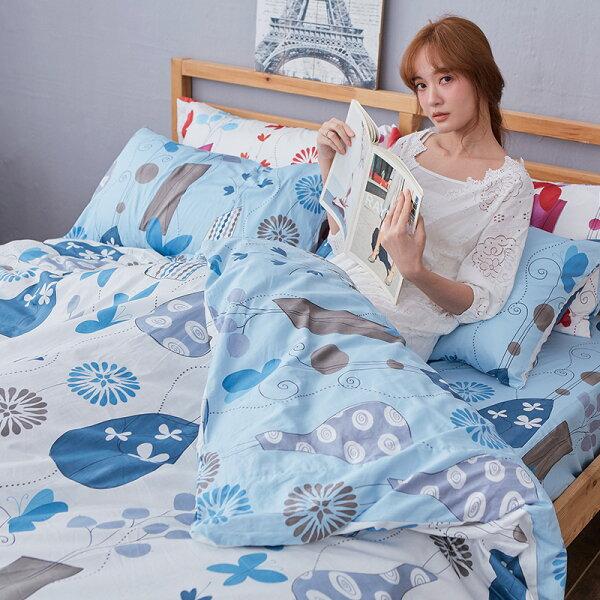 床包被套組雙人加大-100%精梳棉【花都香榭-藍】含兩件枕套,戀家小舖,台灣製