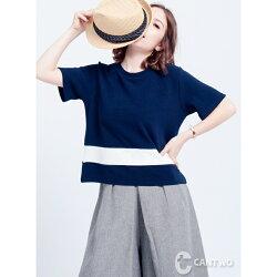 CANTWO跳色條紋拼接上衣(共二色)