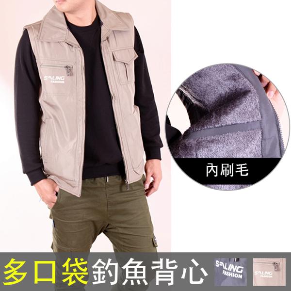 CS衣舖:CS衣舖加大尺碼M-2L高機能多口袋保暖內刷毛實用釣魚背心7609