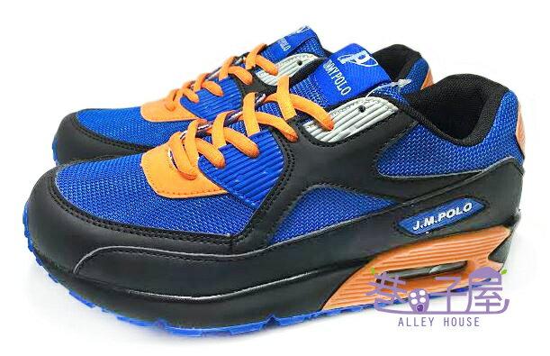 【巷子屋】JIMMY POLO 男款寬楦氣墊運動慢跑鞋 [68043] 黑藍 AIR MAX同款 超值價$398