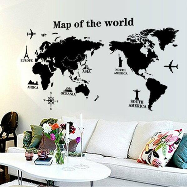 BO雜貨【YV0598】DIY可重複貼 時尚壁貼 牆貼壁紙 壁貼紙 創意璧貼 世界地圖 AY9133