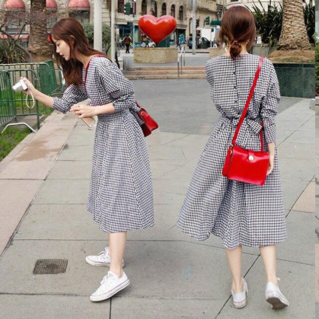 PS Mall 小清新文藝復古格子長裙女收腰顯瘦學院風連身裙 洋裝~T4380~ ~  好