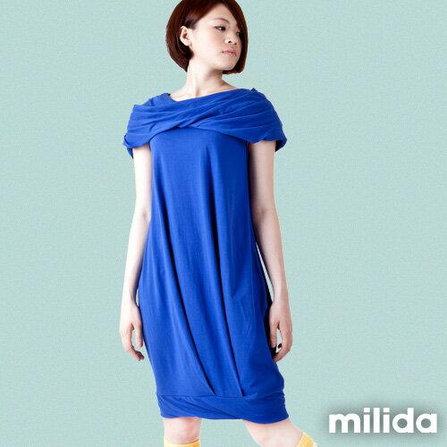 【Milida,全店七折免運】-夏季尾聲-素色款-一字領花苞洋裝 7