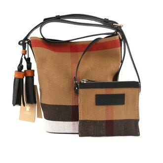【BURBERRY】THE ASHBY CANVAS棉麻格紋皮革小型斜背包(黑背帶) 3997284 0010T