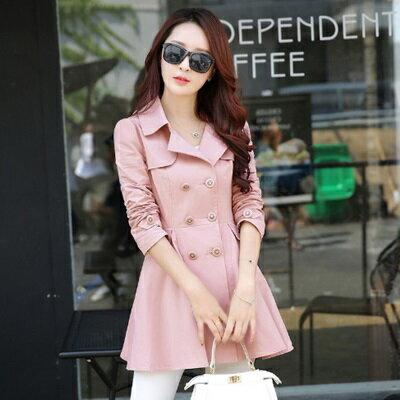 風衣外套翻領大衣-韓版時尚氣質雙排扣女外套3色73iz47【獨家進口】【米蘭精品】