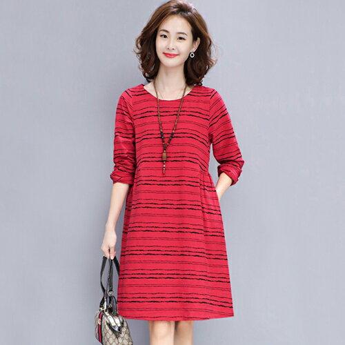 條紋寬鬆大碼棉麻連身裙(4色M~3XL)【OREAD】 2