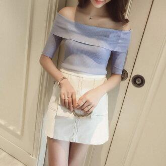 PS Mall韓版性感露肩一字領短袖上衣 緊身針織上衣【T567】