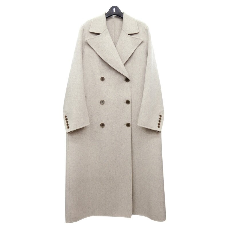 毛呢大衣羊毛外套-長版純色雙排扣翻領女外套3色73wb2【獨家進口】【米蘭精品】 0