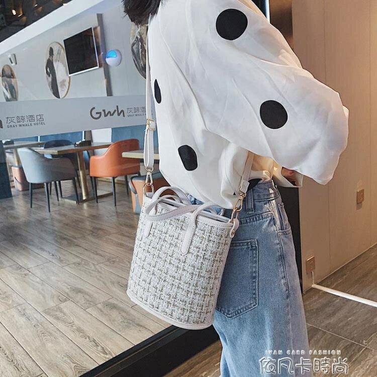 流行仙女包包2020秋季新款潮韓版百搭斜挎包呢子時尚手提包水桶包