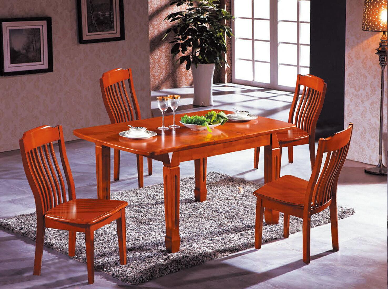 【 IS空間美學】606實木長餐桌(可收合)+919實木餐椅(1桌4椅)