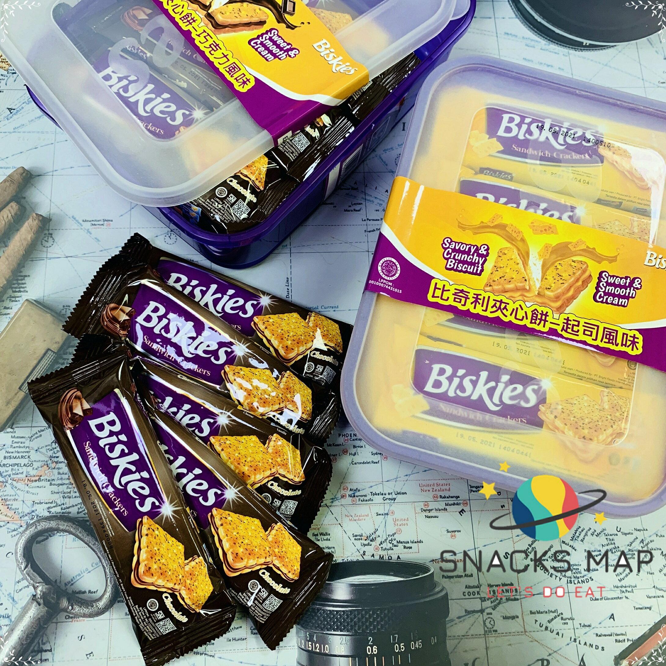 [SNACKS MAP零食地圖]BISKIES  比奇利夾心餅乾 印尼 巧克力 起司 奶素 盒裝 360g    全館399  超取免運