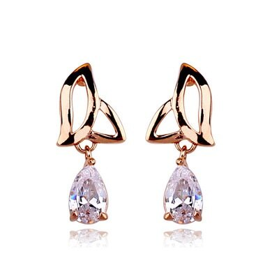 玫瑰金耳環925純銀鑲鑽耳飾~精緻鏤空水滴 情人節生日 女飾品73gs131~ ~~米蘭