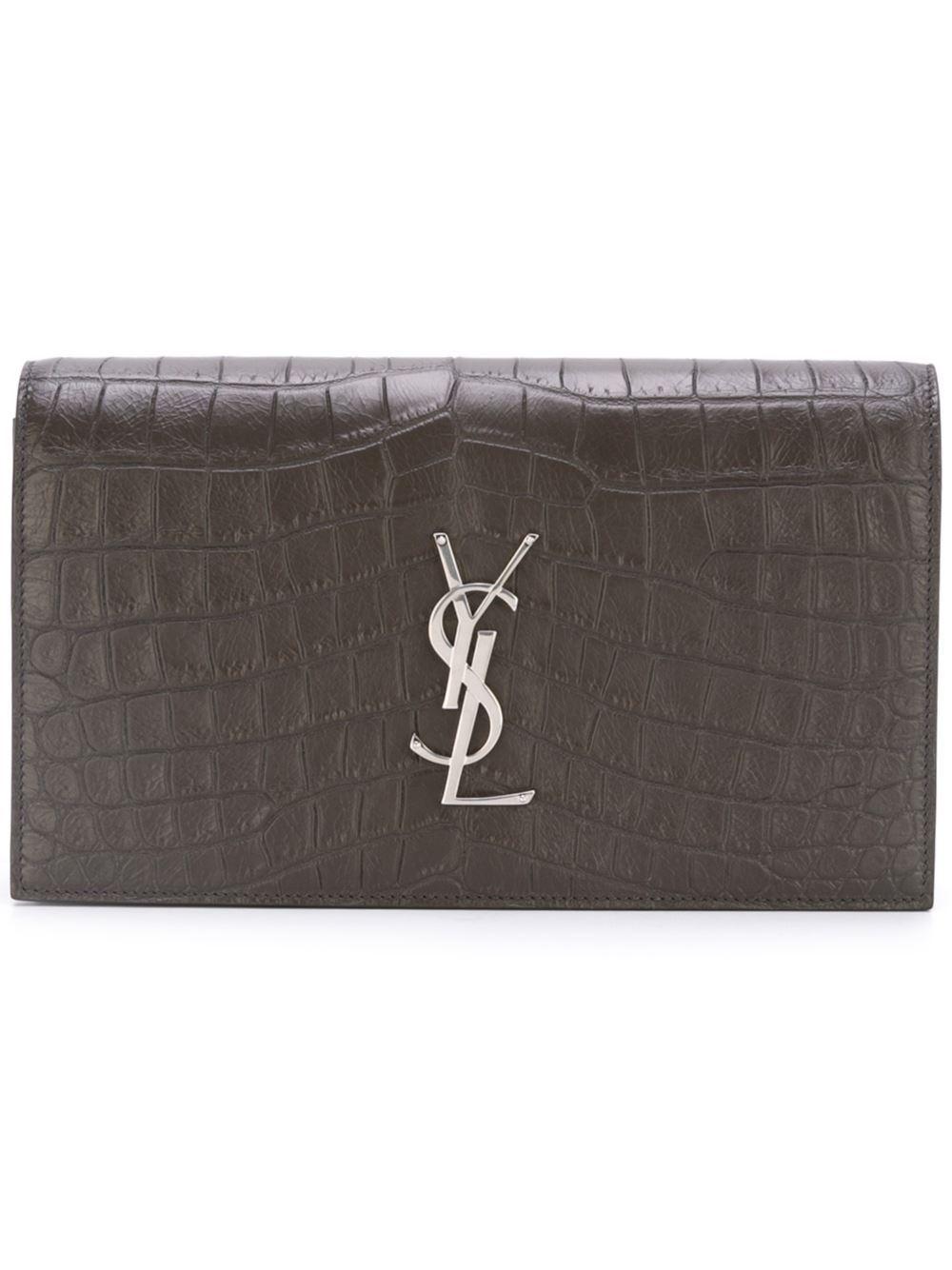 bfa47dfbe556 ... Queen Bee of Beverly Hills. SAINT LAURENT YSL Women s classic Grey  Crocodile Clutch 400409 0