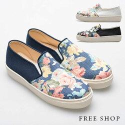 《Free Shop》Free Shop【QSH0364】日韓風格簡約拼接花布精緻收邊厚底休閒鞋懶人鞋‧三色(FR02) MIT台灣製