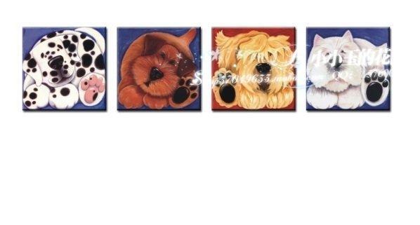 阿曆克斯-皮皮狗現代簡約無框畫裝飾畫小版畫生日禮物壁畫4個組