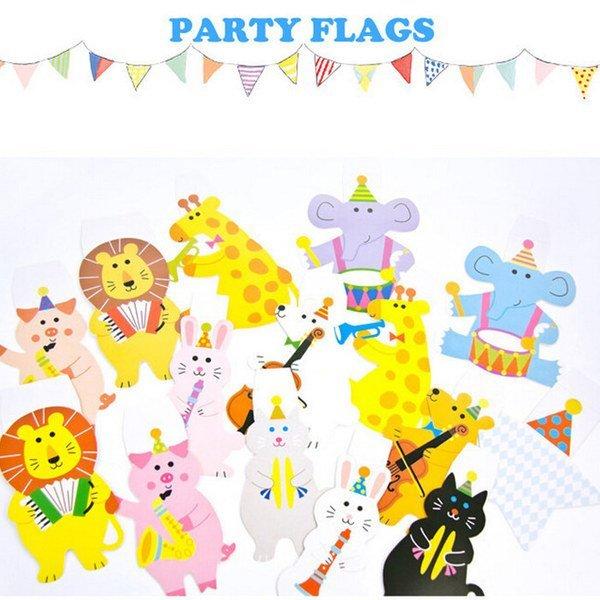 =優 =卡通可愛小動物三角旗派對裝飾生日聖誕節慶聚會卡片 生日 派對 嬰兒房佈置 幼兒園