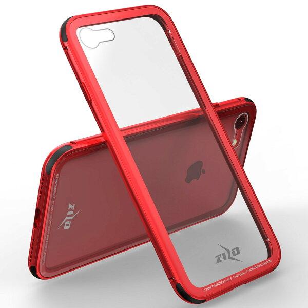 貝殼嚴選:【貝殼】ZizoBoltATOM系列iPhone8iPhone7手機殼防摔殼(贈非滿版玻璃貼)-紅色