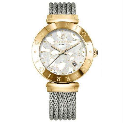 CHARRIOL夏利豪(AMY51A007)香檳金經典鋼索腕錶珍珠母貝面34mm