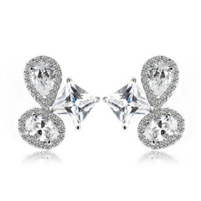 純銀耳環鍍白金鑲鑽耳飾~ 奢華八心八箭生日情人節 女飾品73cr181~ ~~米蘭 ~
