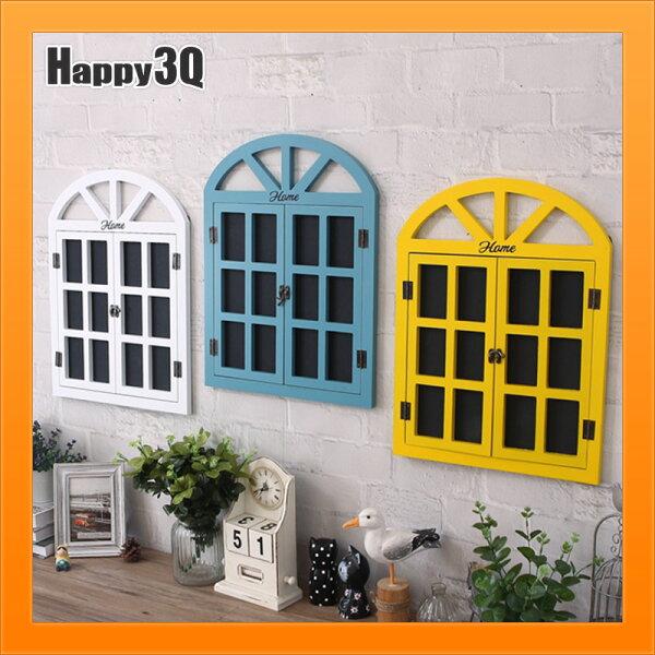黑板留言板復古黑板窗戶造型菜單咖啡店創意造型家居歐式-白黃藍【AAA4158】