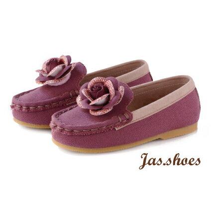 JASSHOES【JK0380】英國進口亮紋 日本酒袋布 莫卡辛 套入式 懶人鞋 童鞋 共2色-野莓粉