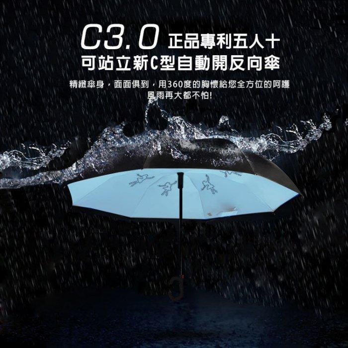 HANLIN 正品專利(五人十) C3.0 可站立新C型自動開反向雨傘 只有紅色