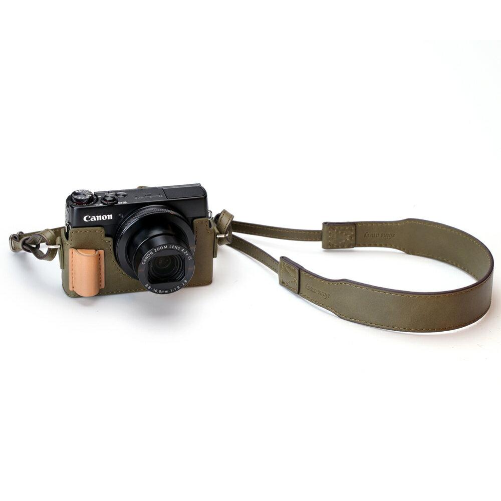 shine away Canon G7X 專用相機底座+真皮蠟染牛皮綠背帶 超值組合