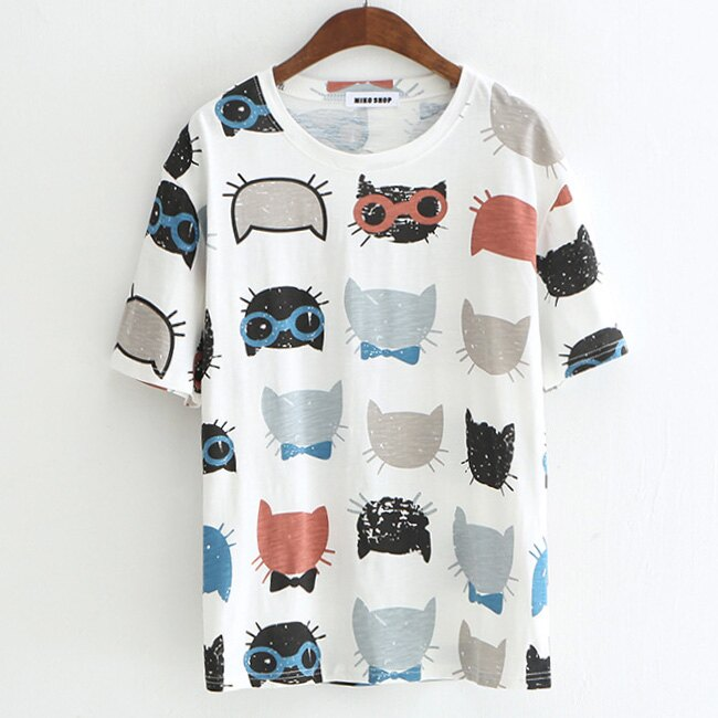 貓咪小白兔水果印花t恤上衣 【88-11-8399-0076-18】ibella 艾貝拉