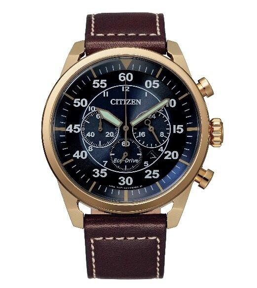 清水鐘錶 CITIZEN 星辰 CA4213-26L Eco-Drive光動能 飛行者三眼計時錶 玫塊金 藍 44mm