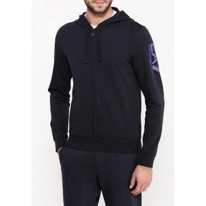 美國百分百【全新真品】Emporio Armani 外套 連帽 夾克 阿曼尼 EA7 棉質 運動 黑色 XS號 H803