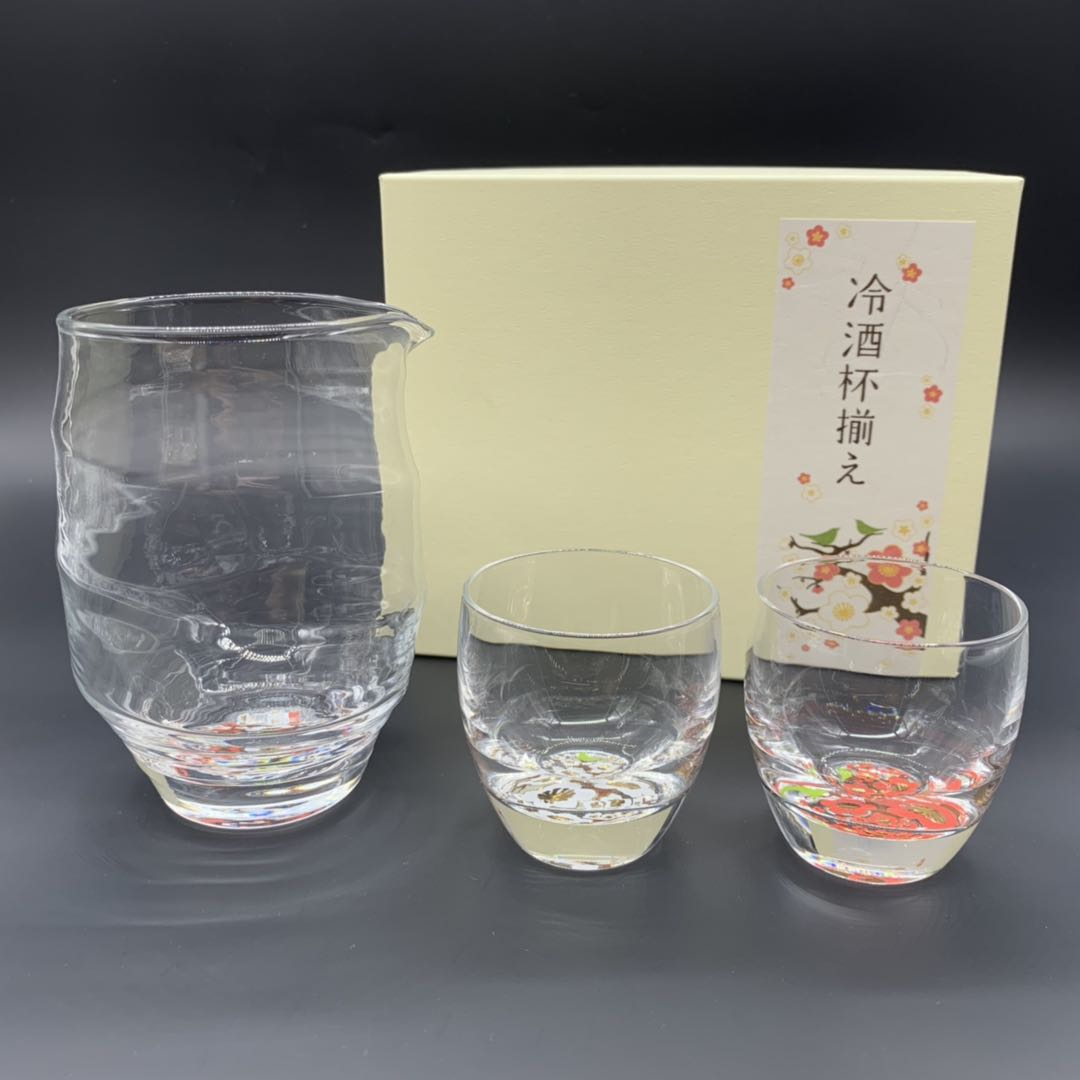 日本 紅白梅冷酒杯組