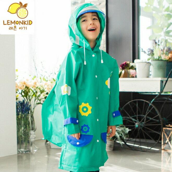 Lemonkid◆可愛機器人卡通新款EVA兒童帶書包位雨衣-綠色