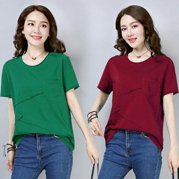 糖衣子輕鬆購【GH8898】韓版時尚休閒顯瘦幾何口袋圓領T恤上衣