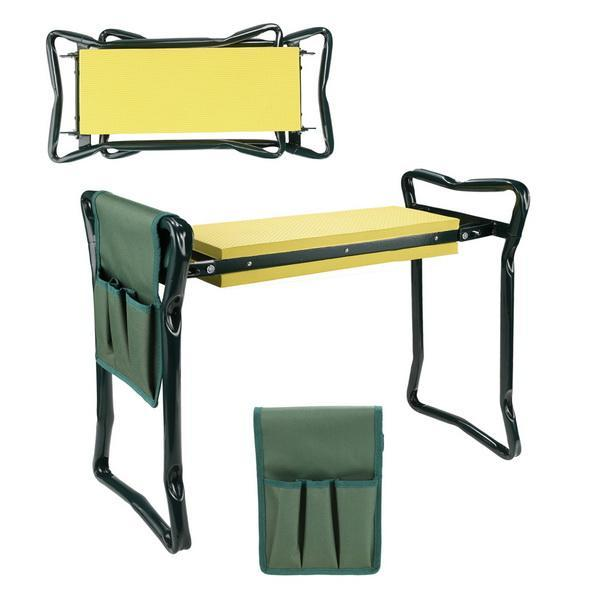 Folding Garden Seat Kneeler Kneeling Pad Rest Outdoor Lawn Beach Chair With Tool Pouch 0