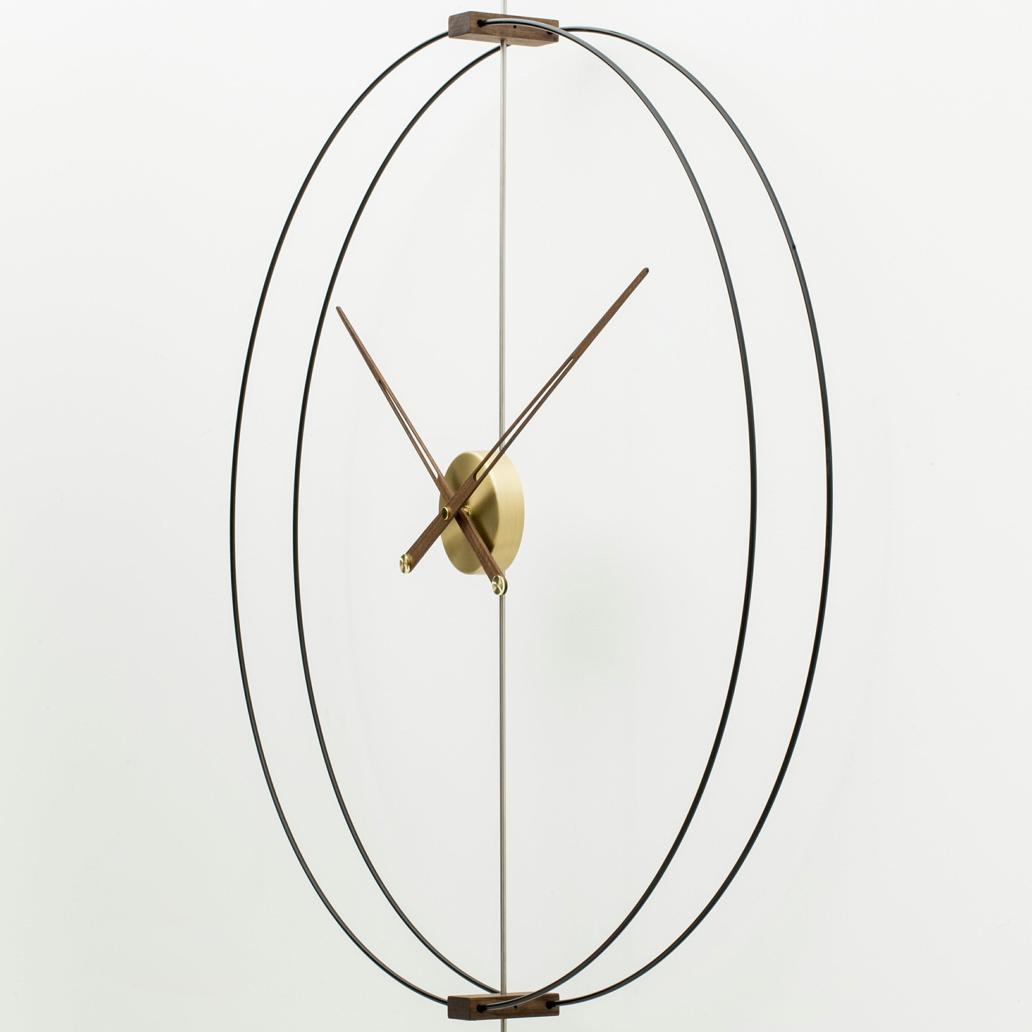家用藝術靜音創意輕奢西班牙極簡樣板間客廳實木超大指針掛鐘表