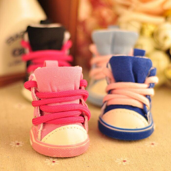 狗狗鞋子泰迪鞋子一套4只比熊板鞋不掉寵物鞋小狗鞋防滑腳套