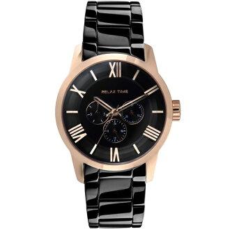 Relax Time RT-65-5M 對錶系列黑金時尚腕錶/黑面(大)45mm