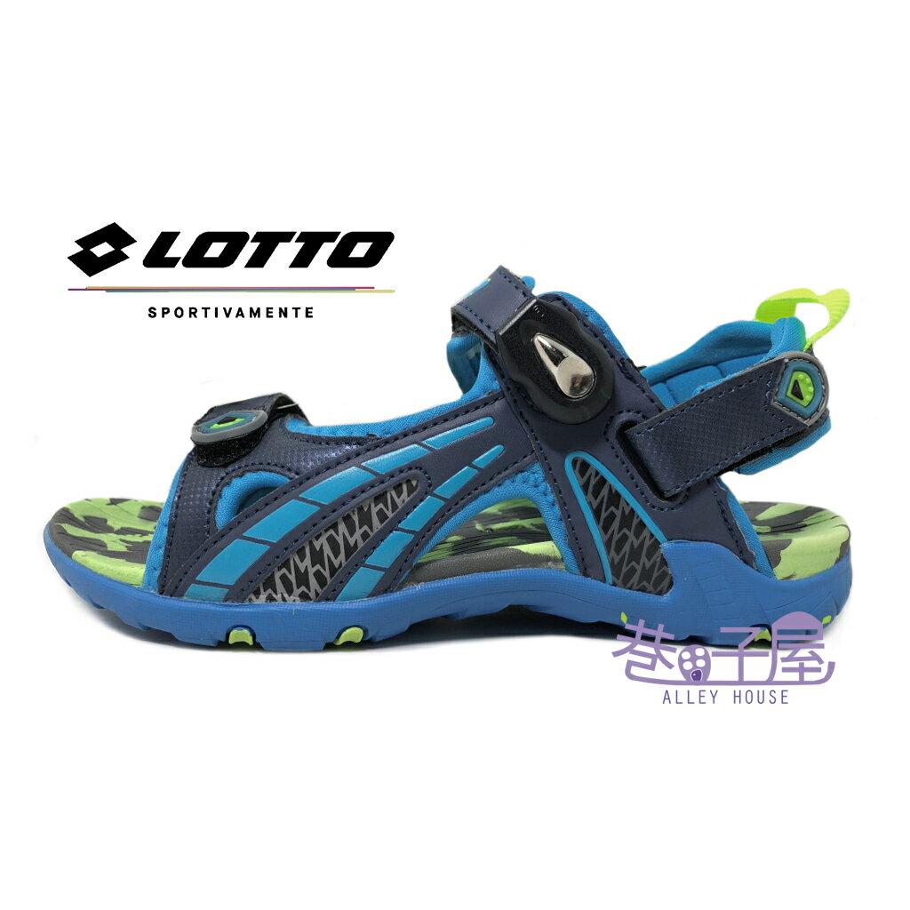 【巷子屋】義大利第一品牌-LOTTO樂得 童款五大機能排水磁扣運動兩穿式涼拖鞋 涼鞋 拖鞋 [3206] 藍 超值價$398