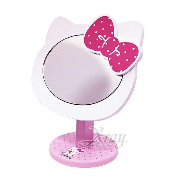 X射線【C520182】HelloKitty造型化妝鏡,鏡子方鏡化妝鏡桌上鏡隨身鏡摺疊鏡