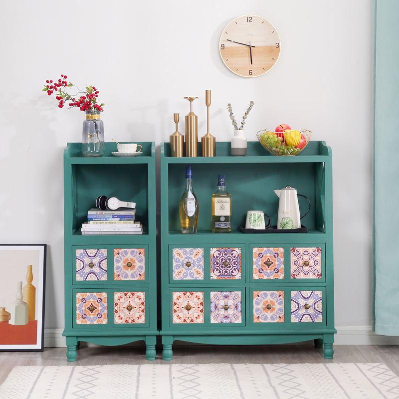 墻邊櫃 實木彩繪斗柜客廳收納柜子做舊儲物柜美式兒童書柜簡約復古客廳柜