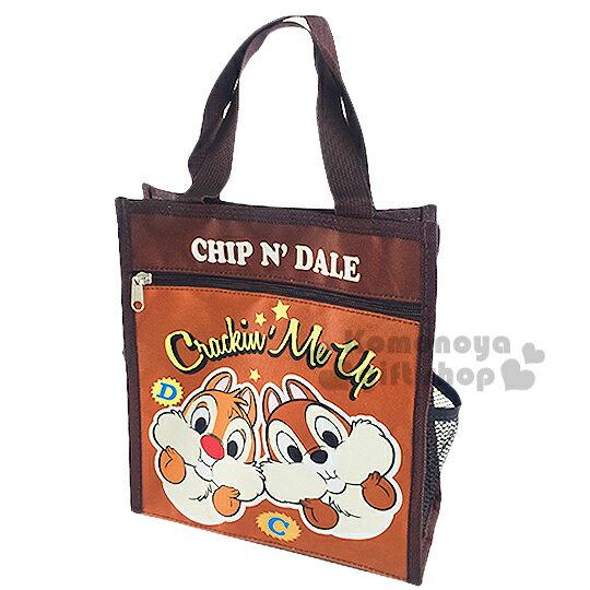 〔小禮堂〕迪士尼 奇奇蒂蒂 直式手提便當袋《棕.大臉.星星》輕巧好攜帶
