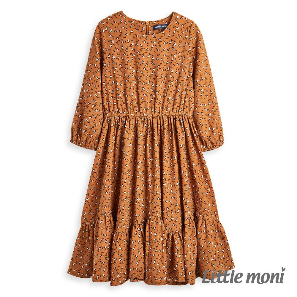 Little moni 印花洋裝-駝色(好窩生活節) - 限時優惠好康折扣