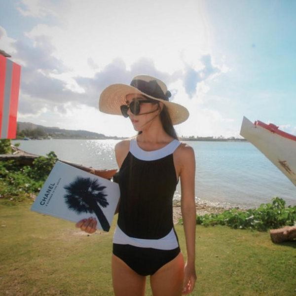 PSMall泳裝【ET371】經典黑白色潮混搭連身女游泳衣優雅遮肚顯瘦保守泳衣溫泉沙灘BIKINI
