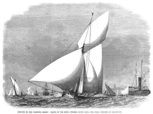 Yacht Race 1868 Nopening Of The Yachting Season For The Royal Thames Yacht Club At Gravesend England Wood Engraving 1868 Rolled Canvas Art - (18 x 24) cda4817bef6b6c107d9806141b603356