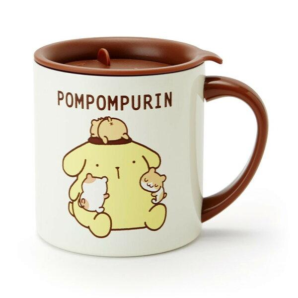 X射線【C142684】布丁狗Pompompurin不鏽鋼馬克杯附蓋300ml-朋友,水杯馬克杯杯瓶茶具生活用品玻璃杯不鏽鋼杯