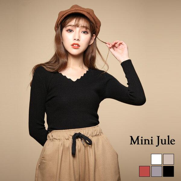 小豬兒 Mini Jule:針織毛衣波紋V領純色直紋彈性針織衣小豬兒MiNiJule【SJE72000635】