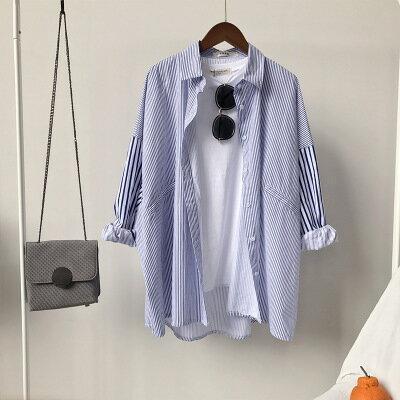 [全店免運] 豎條紋寬鬆中長款九分袖襯衫 /  樂天時尚館